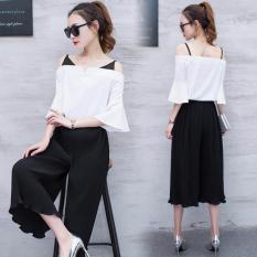 Monochrome Set / stelan baju wanita / atasan wanita / blouse wanita / celana kulot / celan panjang athena fashion
