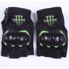 Monster Sarung Tangan Motor Protektor Off Road Half Finger Impor Hitam Promo Beli 1 Gratis 1