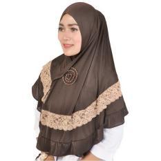 Montaza Hijab Jilbab Instan [Coklat] Kerudung Geblus Pashmina Spandek HDN977