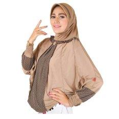 Montaza Hijab Jilbab Instan Syar'i [Coklat] Kerudung katun rayon Geblus Syari Pashmina