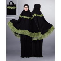 Montaza Mukena Hitam Motif Gamis Wanita Katun Pakaian Syar'i SLS 928