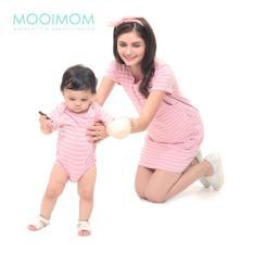 MOOIMOM Comfort Stripe Nursing T-Shirts Dress Couple Set Baju Hamil Menyusui Couple Ibu Anak