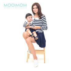 MOOIMOM Round Neck Long Sleeves Nursing Dress Couple Set Baju Hamil Menyusui Couple Ibu Anak - Navy Girl