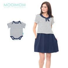 MOOIMOM Scout Look Nursing Dress Couple Set Baju Hamil Menyusui Couple Ibu Anak - Navy Boy