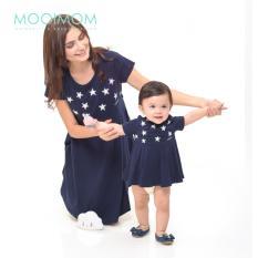 MOOIMOM Starry Sky Nursing Dress & Baby Clothes Baju Hamil Menyusui Couple Ibu Anak - Navy Girl