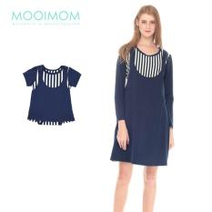 MOOIMOM Straight Stripe Long Sleeves Nursing Sling Dress Couple Set Baju Hamil Menyusui Couple Ibu Anak - Navy Girl
