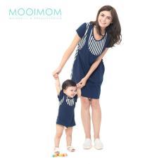 MOOIMOM Straight Stripe Nursing Sling Dress Couple Set Baju Hamil Menyusui Couple Ibu Anak - Navy Girl