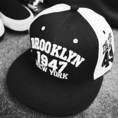 1947 Brooklyn Gaya Bisbol Cap Olahraga Topi Hip Hop Topi Polo Cap (hitam Putih) Moonar - Intl