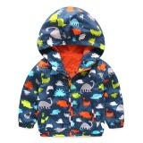 Promo Moonar Bayi Boys Dinosaur Printed Jaket Children Hooded Outerwear Musim Dingin Musim Gugur Mantel Lengan Panjang Navy Biru Moonar