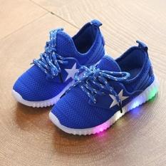 Moonar Bayi Anak Kids Boys Gadis LED Light Up Luminous Glowing Sneakers Sepatu (Biru)-Intl