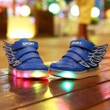 Jual Bercahaya Dirinya Diserap Jadi Anak Datar Sayap Usb Flash Dekorasi Kasual Sneakerssize 25 36 Biru Tua Moonar Ori