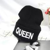 Cuci Gudang Moonar Fashion Mewah Raja Ratu Beanie Musim Dingin Topi Pria Wanita Rajutan Hip Hop Hat Some Hangat Musim Dingin Cap Putih Ratu
