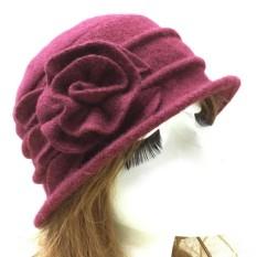 Moonar Fashion Vintage Wanita Wol Gereja Cloche Flapper Hat Flower Knit Topi  Musim Dingin Hangat Cap 77b2c7c1ce