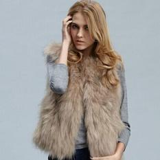 Harga Moonar Fashion Wanita Buatan Bulu Imitasi Fox Lady Pendek Musim Dingin Bagian Rompi Mantel Khaki Intl Moonar Original