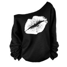 Moonar Fashion untuk Wanita, China Motif Bibir Seksi Bahu Miring Pola Blus Lengan Panjang T-Shirt S-XL (warna Hitam & PUTIH)
