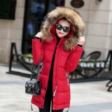 Jual Moonar Fashion Women Winter Slim Fur Hooded Keep Warm Jacket Long Sleeve Cotton Thicken Down Coat Red Intl Import