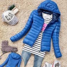 Moonar Fashion Wanita Ritsleting Musim Dingin Jaket Hangat Berkerudung Lengan Panjang Ramping Mantel Bulu Angsa (Biru)-Intl