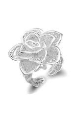 Wanita Yg Dpt Mengatur Pengosongan Mawar Bunga Perak Berlapis Cincin Perak