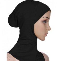 Jual Moonar Islam Wanita Muslim Memakai Pelindung Kepala Syal Penutup Leher Kapas Kain Jilbab Hitam Moonar Murah