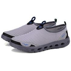 Review Moonar Pria Breathable Mesh Slip On Air Sepatu Kasual Berjalan Kolam Flats Sneakers Abu Abu Terang Intl Terbaru