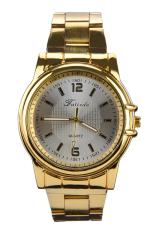 Moonar Jam Tangan Pria Warna Emas/Putih Stainless Steel