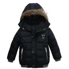 Moonar Baru Fashion Anak Laki-laki Anak-anak Musim Dingin Hangat Tebal Berlapis Kapas Gaya Panjang Hooded Jaket Anak-anak Lebih Tahan Dr Mantel (hitam) - ...