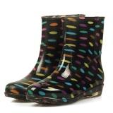 Moonar Baru Fashion Wanita Waterproof Antiskid Pertengahan Betis Dots Karet Sepatu Wanita Rain Boots 3 Multicolor Intl Asli