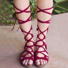 Ulasan Lengkap Moonar Baru Mode Musim Panas Wanita Kaki Bungkus Renda Up Gladiator Sandal Merah Intl