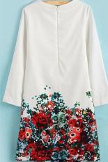 Toko Moonar Kerah Bulat Lengan Baju Panjang Bunga Cetak Mini Dress Putih Termurah