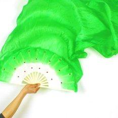 Spesifikasi Moonar Women Dance Costume Bamboo Long Silk Fans Veil Silk Fan Green Intl Murah