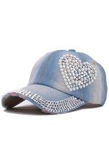 Harga Moonar Wanita Denim Berlian Imitasi Bentuk Jantung Topi Baseball Cap Biru Muda Original