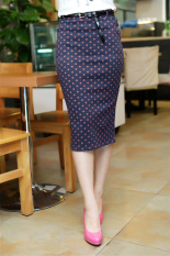 Jual Moonar Wanita Fashion Kualitas Tinggi Pinggang Melar Bodycon Dress Pensil Tipis Membungkus Rok Biru Jeruk Bertitik International Online