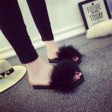 Beli Moonar Wanita Bulu Fluffy Marabou Mules Slip Pada Sandal Bulu Sliders Sandal Hitam Intl Seken