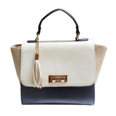 More584 Elegance Trapeze Handbag White - Black / Tas Wanita Putih Hitam