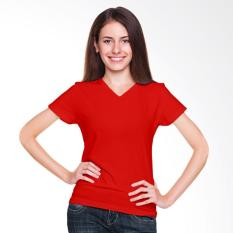 Morning Whistle Basic V-Neck T-Shirt Wanita - Red Cardinal