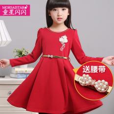 MORSAISTAR Lengan Panjang Anak Perempuan Kecil Bawahan Gaun Gaun Putri (Merah)