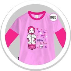 Spesifikasi Moslem Kids Kaos Anak Cewek Lengan Panjang Desain Islami Little Doctor Warna Pink Baru