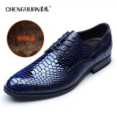 Motif Kulit Ular Pria Musim Semi Dan Musim Gugur Baru Bisnis Kasual Sepatu Pria Formal Sepatu Kulit (Biru Tambah Beludru Renda)