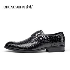Motif Kulit Ular Pria Musim Semi Dan Musim Gugur Baru Bisnis Kasual Sepatu Pria Formal Sepatu Kulit (Set Kaki Hitam)
