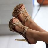 Beli Motif Macan Tutul Musim Semi Dan Musim Panas Baru Model Catwalk Sandal Hitam Other