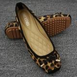 Harga Motif Macan Tutul Perempuan Berkepala Persegi Sepatu Flat Sepatu Klasik Beige Yang Bagus