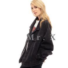 Diskon Produk Jaket Jeans Denim Women Oversize Black Premium Quality By Mr X