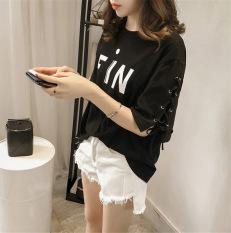 Ms. yard besar longgar lengan pendek t-shirt versi Korea dari t-shirt (Hitam) baju wanita baju atasan kemeja wanita