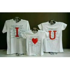 MT'COUPLE Baju Keluarga  Kaos Keluarga  Kaos Oblong  Kaos Couple Family 1 Anak  I LOVE YOU Putih  T-Shirt