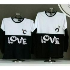 MT'COUPLE - Kaos Couple Kombinasi Lp. LOVE Hitam  Busana Pasangan  Kaos Pasangan KAOS KAPELAN  T-Sh