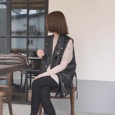 Mu Korea Motor Rompi Tanpa Lengan Mantel Rompi Longgar Slimmingeffect Ritsleting PU Kulit Musim Gugur Kulit Pendek Jaket Siswa-Internasional