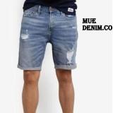 Promo Mue Denim Co Celana Pendek Pria Bahan Soft Jeans Model Sobek Terbaru Akhir Tahun