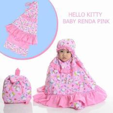 Mukena Anak Hello Kitty Renda Pink Size BABY (1-2 Tahun) Tas Rans