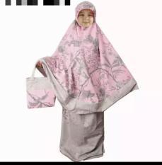 mukena Anak usia 2-4 tahun katun jepang flower pink