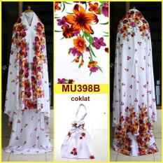 Mukena Bali Dasar Putih Motif Bunga Wera- Semi Jumbo - MU398B (Coklat)